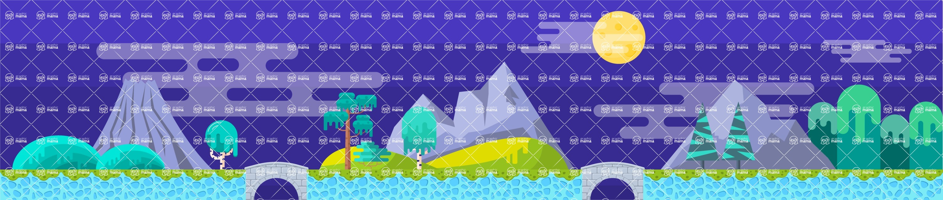Background Vector Creation pack. A rich collection of flat vector elements for nature landscapes, city skylines, futuristic towns, fantastic scenes.  - Backgrounds 33