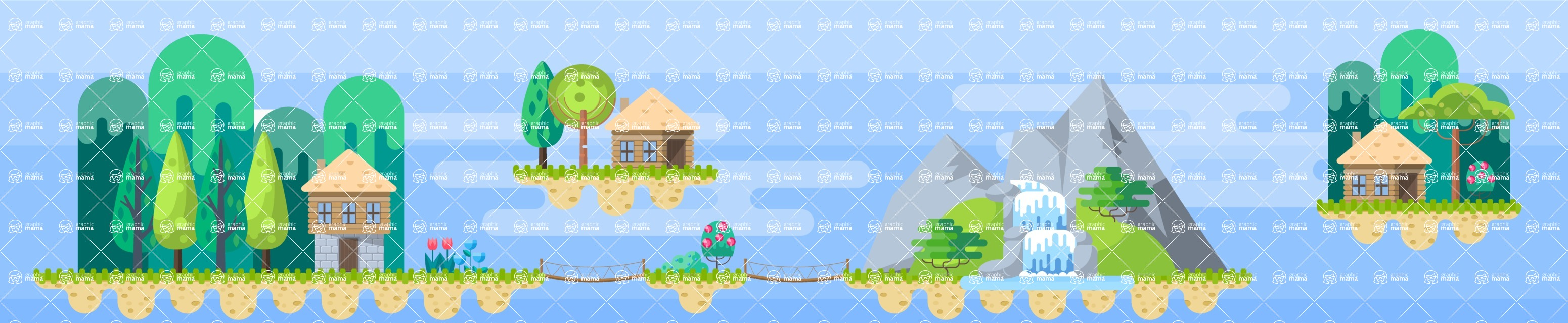 Background Vector Creation pack. A rich collection of flat vector elements for nature landscapes, city skylines, futuristic towns, fantastic scenes.  - Backgrounds 34