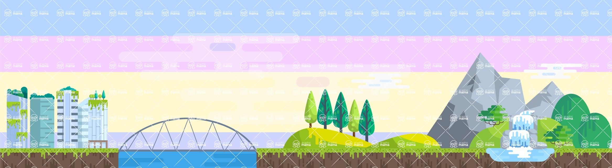 Background Vector Creation pack. A rich collection of flat vector elements for nature landscapes, city skylines, futuristic towns, fantastic scenes.  - Backgrounds 36