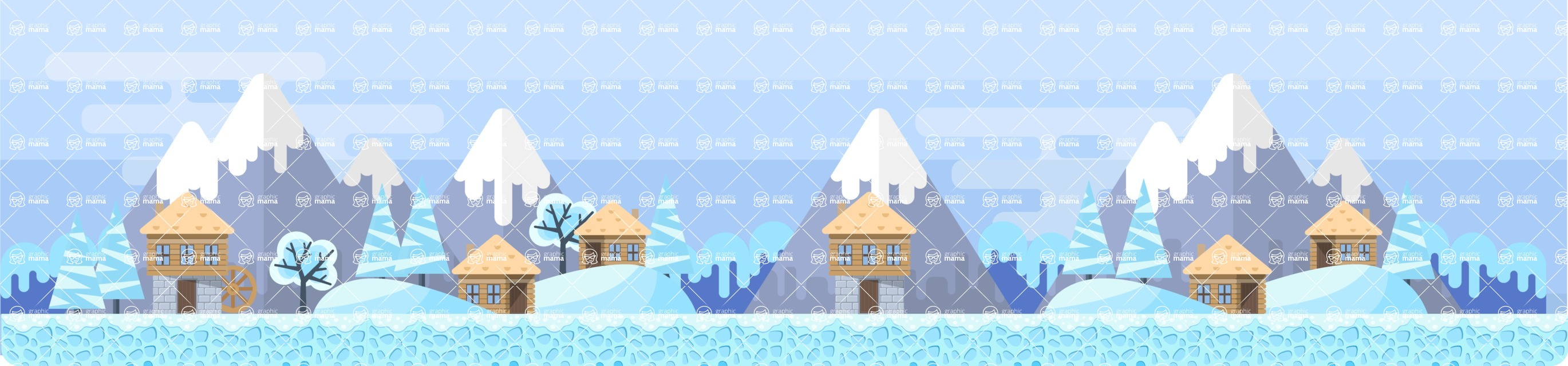 Background Vector Creation pack. A rich collection of flat vector elements for nature landscapes, city skylines, futuristic towns, fantastic scenes.  - Backgrounds 46