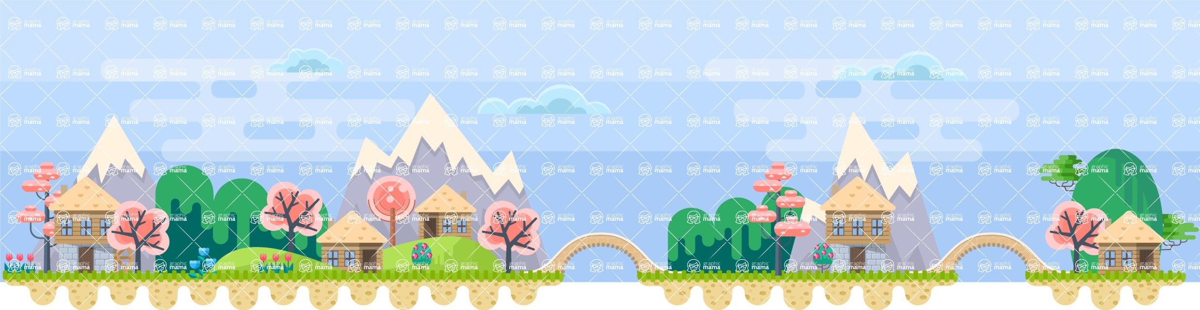 Background Vector Creation pack. A rich collection of flat vector elements for nature landscapes, city skylines, futuristic towns, fantastic scenes.  - Backgrounds 47