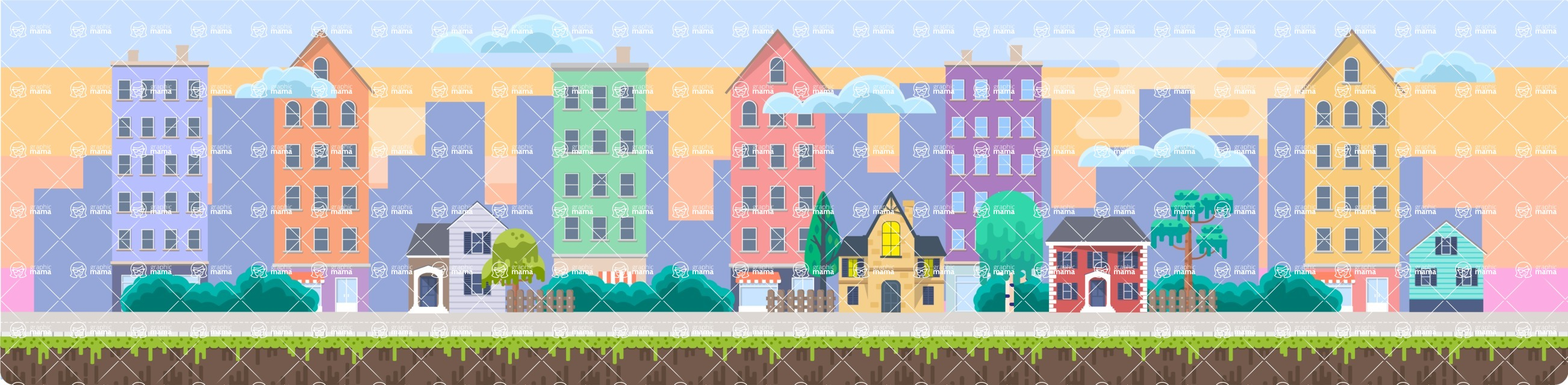 Background Vector Creation pack. A rich collection of flat vector elements for nature landscapes, city skylines, futuristic towns, fantastic scenes.  - Backgrounds 50