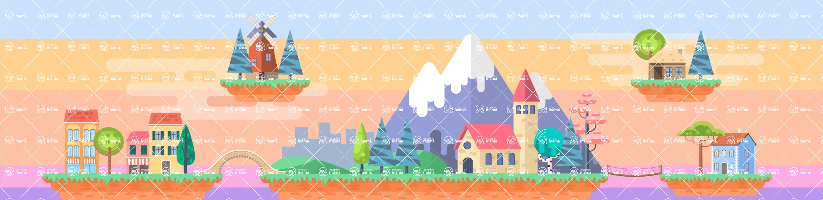 Background Vector Creation pack. A rich collection of flat vector elements for nature landscapes, city skylines, futuristic towns, fantastic scenes.  - Backgrounds 53
