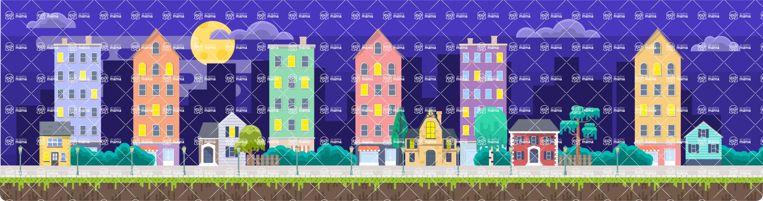 Background Vector Creation pack. A rich collection of flat vector elements for nature landscapes, city skylines, futuristic towns, fantastic scenes.  - Backgrounds 54