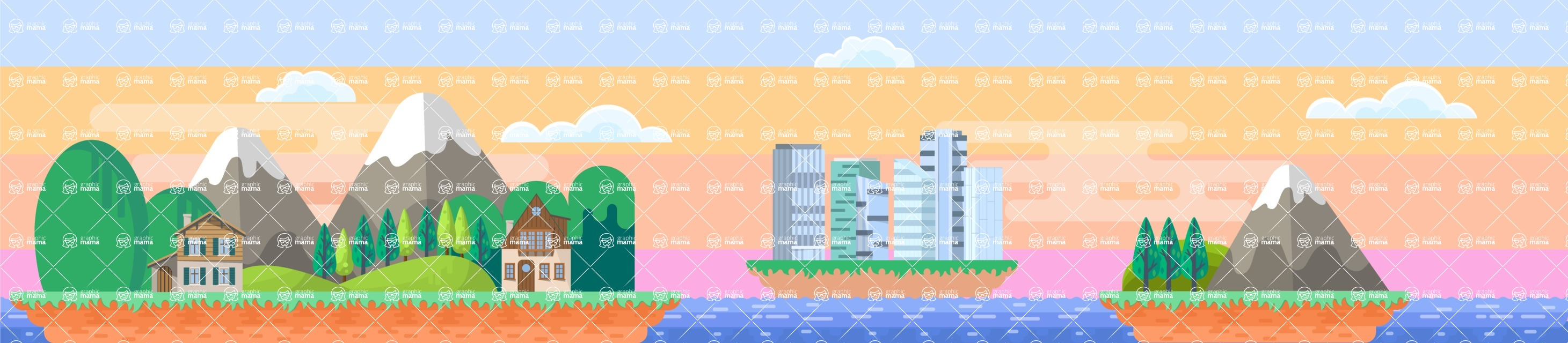 Background Vector Creation pack. A rich collection of flat vector elements for nature landscapes, city skylines, futuristic towns, fantastic scenes.  - Backgrounds 55