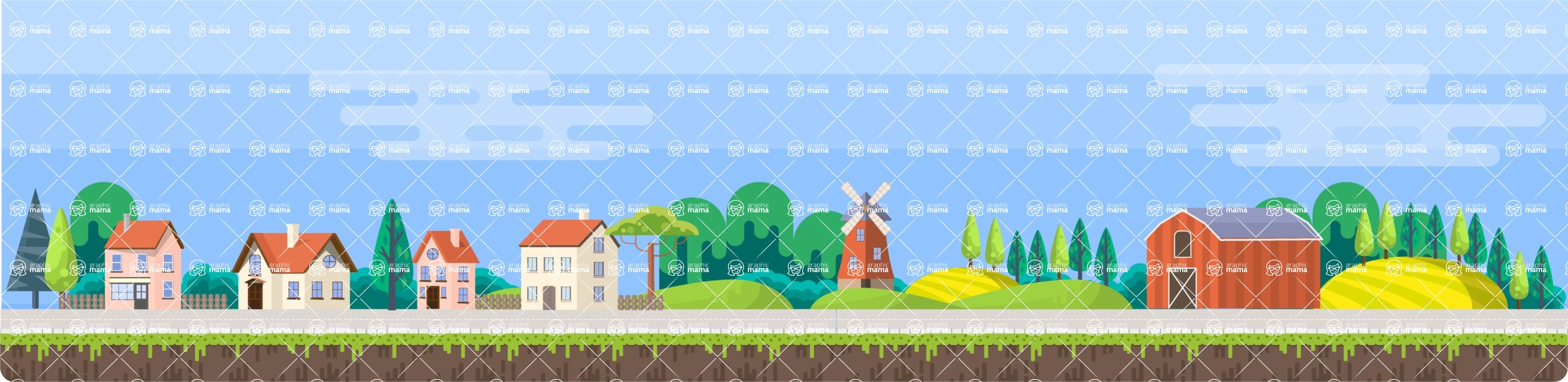 Background Vector Creation pack. A rich collection of flat vector elements for nature landscapes, city skylines, futuristic towns, fantastic scenes.  - Backgrounds 56