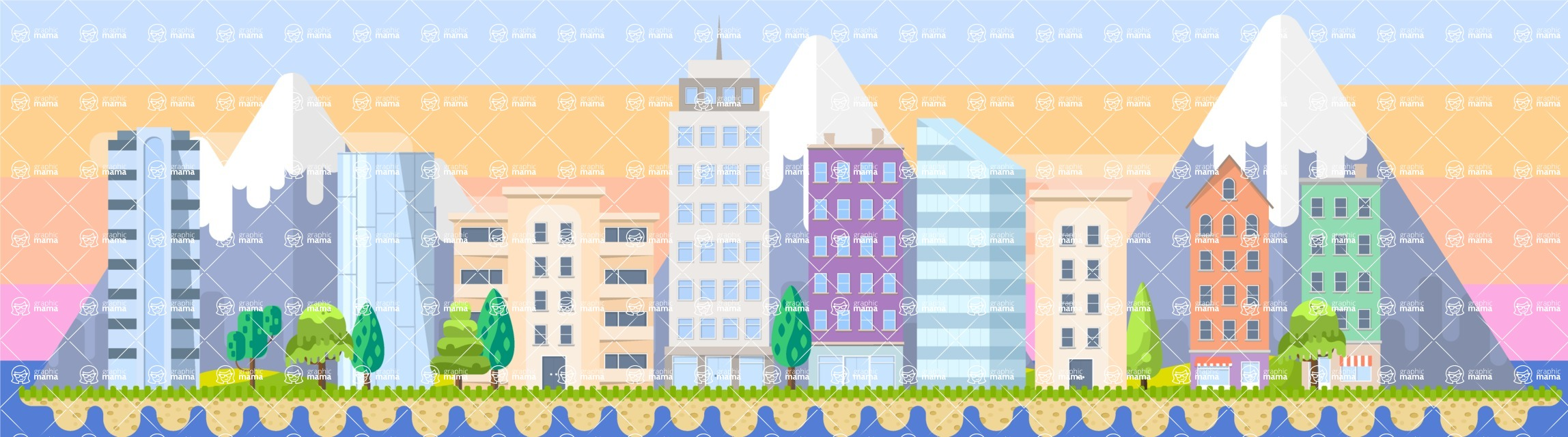 Background Vector Creation pack. A rich collection of flat vector elements for nature landscapes, city skylines, futuristic towns, fantastic scenes.  - Backgrounds 59