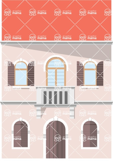 Background Vector Creation pack. A rich collection of flat vector elements for nature landscapes, city skylines, futuristic towns, fantastic scenes.  - House 13