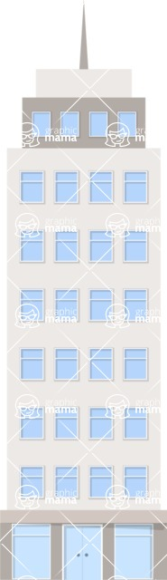 Background Vector Creation pack. A rich collection of flat vector elements for nature landscapes, city skylines, futuristic towns, fantastic scenes.  - Tall Building 4