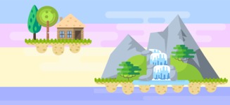 Background Vector Creation pack. A rich collection of flat vector elements for nature landscapes, city skylines, futuristic towns, fantastic scenes.  - Backgrounds 20