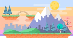 Background Vector Creation pack. A rich collection of flat vector elements for nature landscapes, city skylines, futuristic towns, fantastic scenes.  - Backgrounds 23