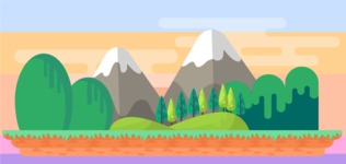 Background Vector Creation pack. A rich collection of flat vector elements for nature landscapes, city skylines, futuristic towns, fantastic scenes.  - Backgrounds 26