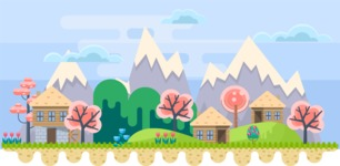 Background Vector Creation pack. A rich collection of flat vector elements for nature landscapes, city skylines, futuristic towns, fantastic scenes.  - Backgrounds 30