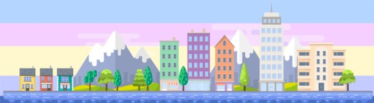 Background Vector Creation pack. A rich collection of flat vector elements for nature landscapes, city skylines, futuristic towns, fantastic scenes.  - Backgrounds 35