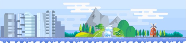 Background Vector Creation pack. A rich collection of flat vector elements for nature landscapes, city skylines, futuristic towns, fantastic scenes.  - Backgrounds 52