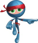 Cool Ninja Cartoon Vector Character AKA Sachi the Flexible - Point 2