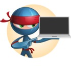Cool Ninja Cartoon Vector Character AKA Sachi the Flexible - Shape 1