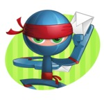 Cool Ninja Cartoon Vector Character AKA Sachi the Flexible - Shape 2