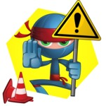 Cool Ninja Cartoon Vector Character AKA Sachi the Flexible - Shape 4