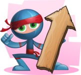 Cool Ninja Cartoon Vector Character AKA Sachi the Flexible - Shape 5