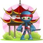 Cool Ninja Cartoon Vector Character AKA Sachi the Flexible - Shape 7