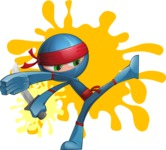Cool Ninja Cartoon Vector Character AKA Sachi the Flexible - Shape 9