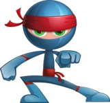 Cool Ninja Cartoon Vector Character AKA Sachi the Flexible - Direct Attention 1