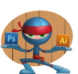 Cool Ninja Cartoon Vector Character AKA Sachi the Flexible - Shape 11