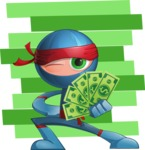 Cool Ninja Cartoon Vector Character AKA Sachi the Flexible - Shape 12