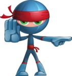 Cool Ninja Cartoon Vector Character AKA Sachi the Flexible - Direct Attention 2