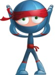Cool Ninja Cartoon Vector Character AKA Sachi the Flexible - Shocked