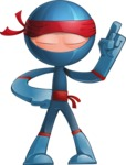 Cool Ninja Cartoon Vector Character AKA Sachi the Flexible - Attention