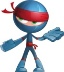 Cool Ninja Cartoon Vector Character AKA Sachi the Flexible - Lost