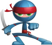 Cool Ninja Cartoon Vector Character AKA Sachi the Flexible - Determined