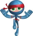 Cool Ninja Cartoon Vector Character AKA Sachi the Flexible - Hello