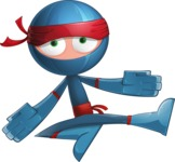 Cool Ninja Cartoon Vector Character AKA Sachi the Flexible - Blank
