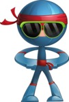 Cool Ninja Cartoon Vector Character AKA Sachi the Flexible - Sunglasses 1