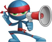 Cool Ninja Cartoon Vector Character AKA Sachi the Flexible - Loudspeaker