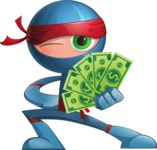 Cool Ninja Cartoon Vector Character AKA Sachi the Flexible - Show me the Money