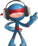 Cool Ninja Cartoon Vector Character AKA Sachi the Flexible - Support 2