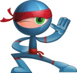 Cool Ninja Cartoon Vector Character AKA Sachi the Flexible - Wave