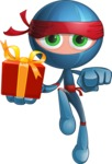 Cool Ninja Cartoon Vector Character AKA Sachi the Flexible - Gift