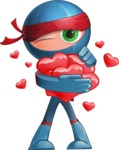 Cool Ninja Cartoon Vector Character AKA Sachi the Flexible - Love