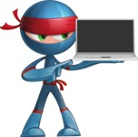 Cool Ninja Cartoon Vector Character AKA Sachi the Flexible - Laptop 1