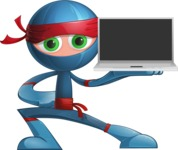 Cool Ninja Cartoon Vector Character AKA Sachi the Flexible - Laptop 2
