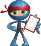 Cool Ninja Cartoon Vector Character AKA Sachi the Flexible - Note 1