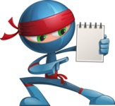 Cool Ninja Cartoon Vector Character AKA Sachi the Flexible - Note 2