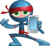 Cool Ninja Cartoon Vector Character AKA Sachi the Flexible - Smartphone 1