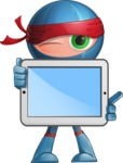 Cool Ninja Cartoon Vector Character AKA Sachi the Flexible - Tablet 1