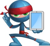 Cool Ninja Cartoon Vector Character AKA Sachi the Flexible - Tablet 2